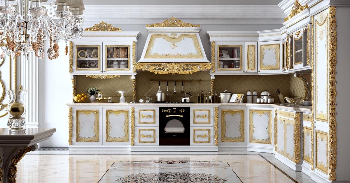 Cucina componibile in legno intagliato per ville idfdesign - Immagini di cucine classiche ...
