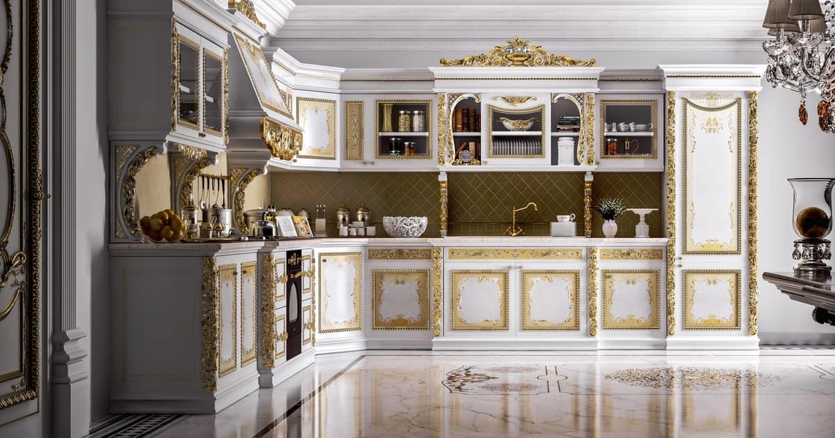 Cucina componibile in legno intagliato per ville idfdesign - Cucine di lusso tedesche ...