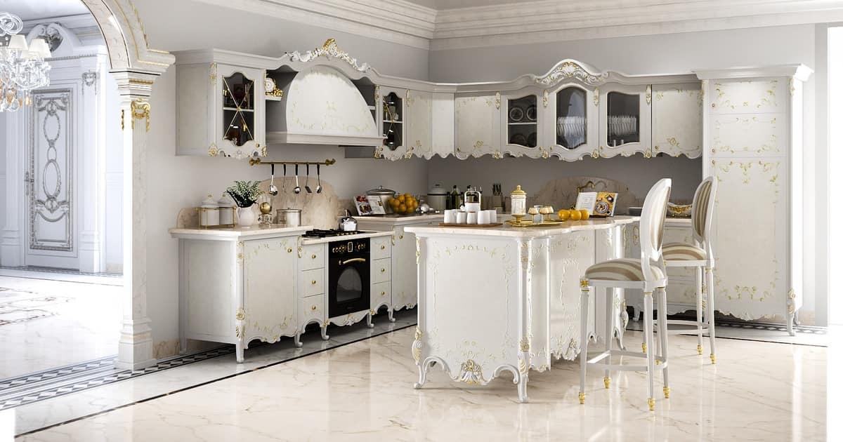 Cucina classica in legno intagliato, top in marmo  IDFdesign