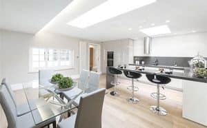 Cucina AS design, Cucina con penisola snak e zona tavolo da pranzo, finitura laccata, personalizzabile, varie finiture