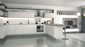 Ice, Cucina laccata bianca, elegante e tecnologica