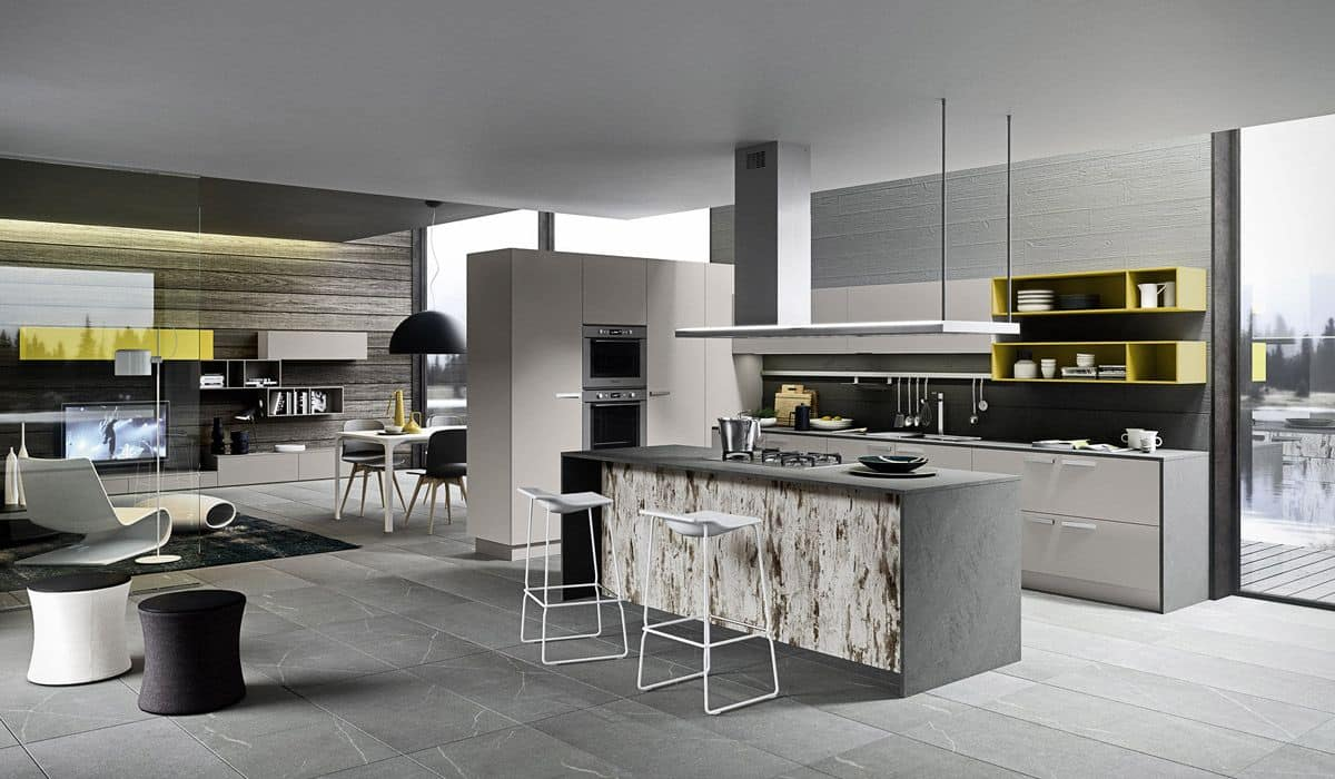 One k05 handle cucina moderna con isola ideale per loft for Isola per cucina moderna