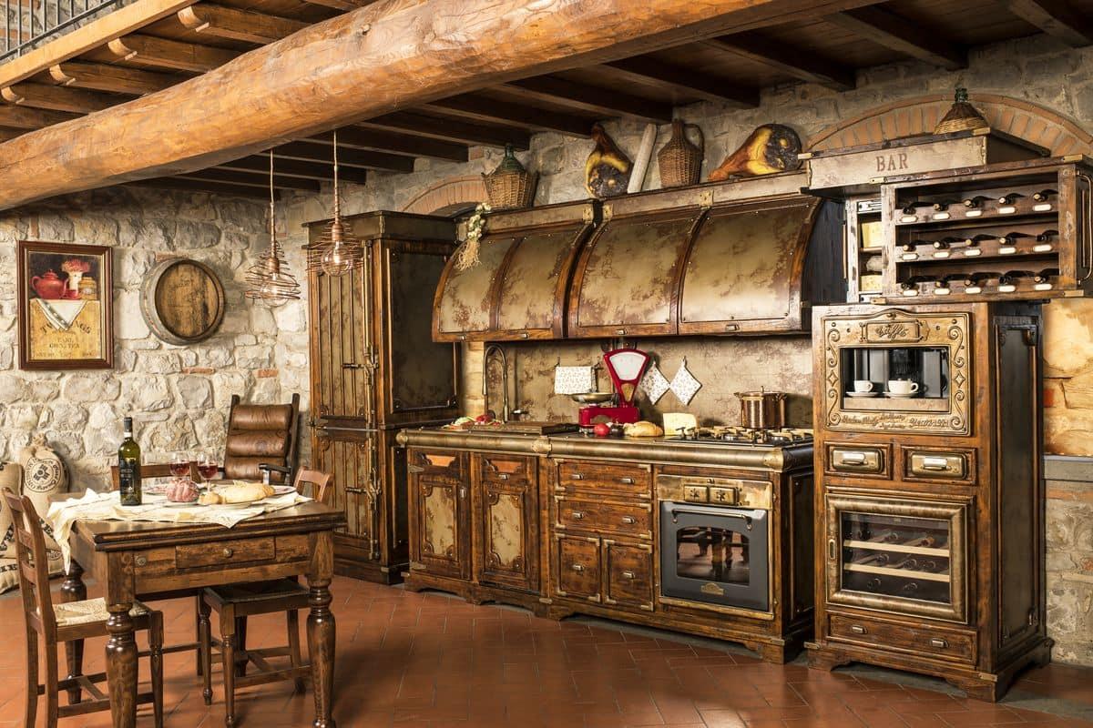 Cucina rustica rifiniture in corten invecchiato idfdesign - Cucine in muratura rustica ...