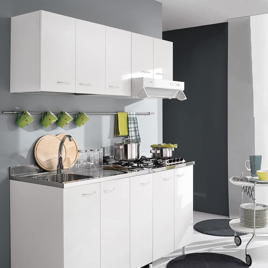 Mobile da cucina compatto finitura bianco opaco idfdesign - Mobile cucina bianco ...