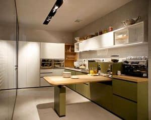 Banco Buffet, Cucina componibile con ripiani, cassetti, lavelli, frigoriferi