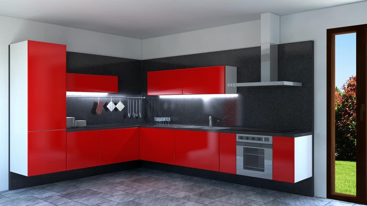 Cucina laccata rossa ad angolo idfdesign - Cucina moderna rossa ...