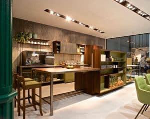 Isola Party H90-H105, Isola per cucina con tavolo e mobile multifunzione