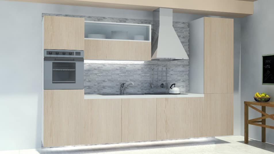 Cucina componibile, con fondale in roccia ardesia | IDFdesign