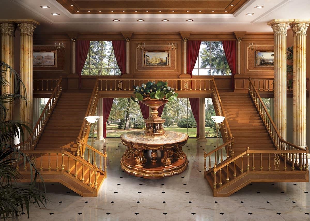Boiserie classica di lusso finiture in foglia oro idfdesign for Ville in legno di lusso prezzi