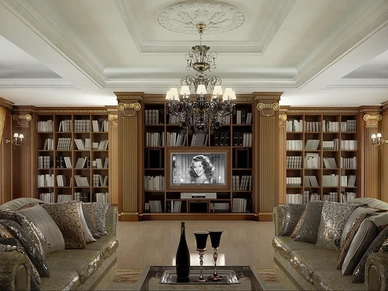 Ufficio Moderno Di Lusso : Parete classica di lusso in legno per ufficio idfdesign
