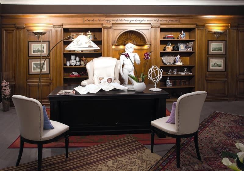 Ufficio Legno Hotel : Boiserie in legno libreria integrata per albergo idfdesign