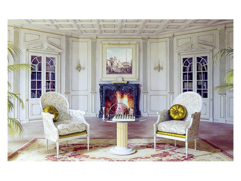 Boiserie con pannelli in legno per soggiorno in stile for Decorazioni pareti soggiorno