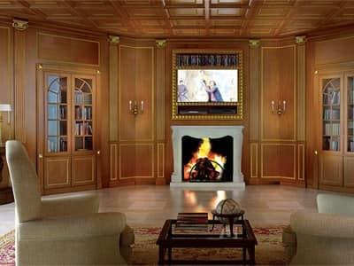 Immagine di Boiseries Firenze soggiorno, pareti in legno