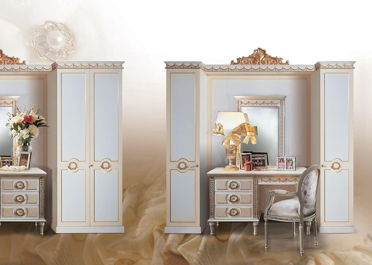 Armadio classico laccato bianco con decori in foglia oro - Pareti decorative ...