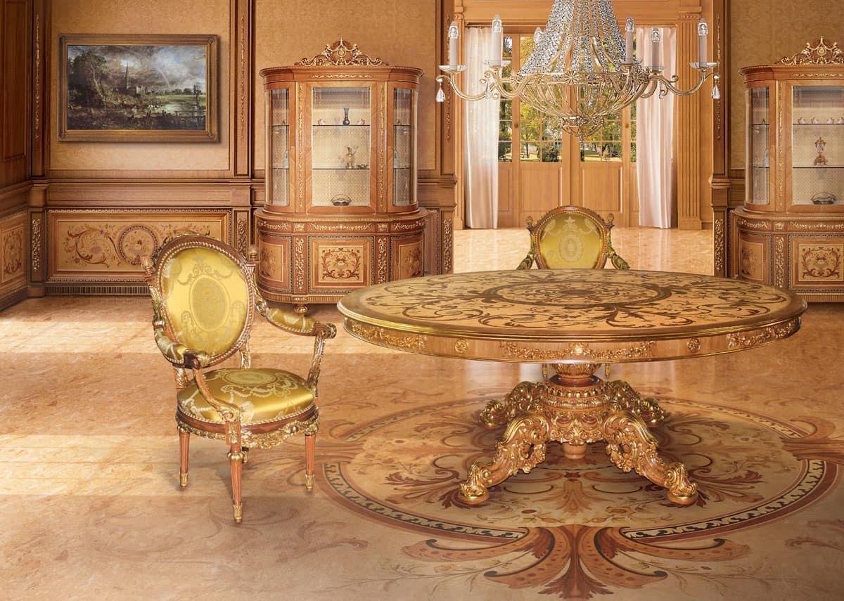 Boiserie intarsiata classica di lusso per sala da pranzo idfdesign - Tende per sala da pranzo classica ...