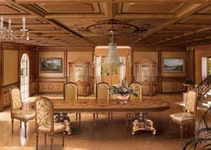 F604 Boiserie, Boiserie intarsiata classica di lusso, per Sala da pranzo