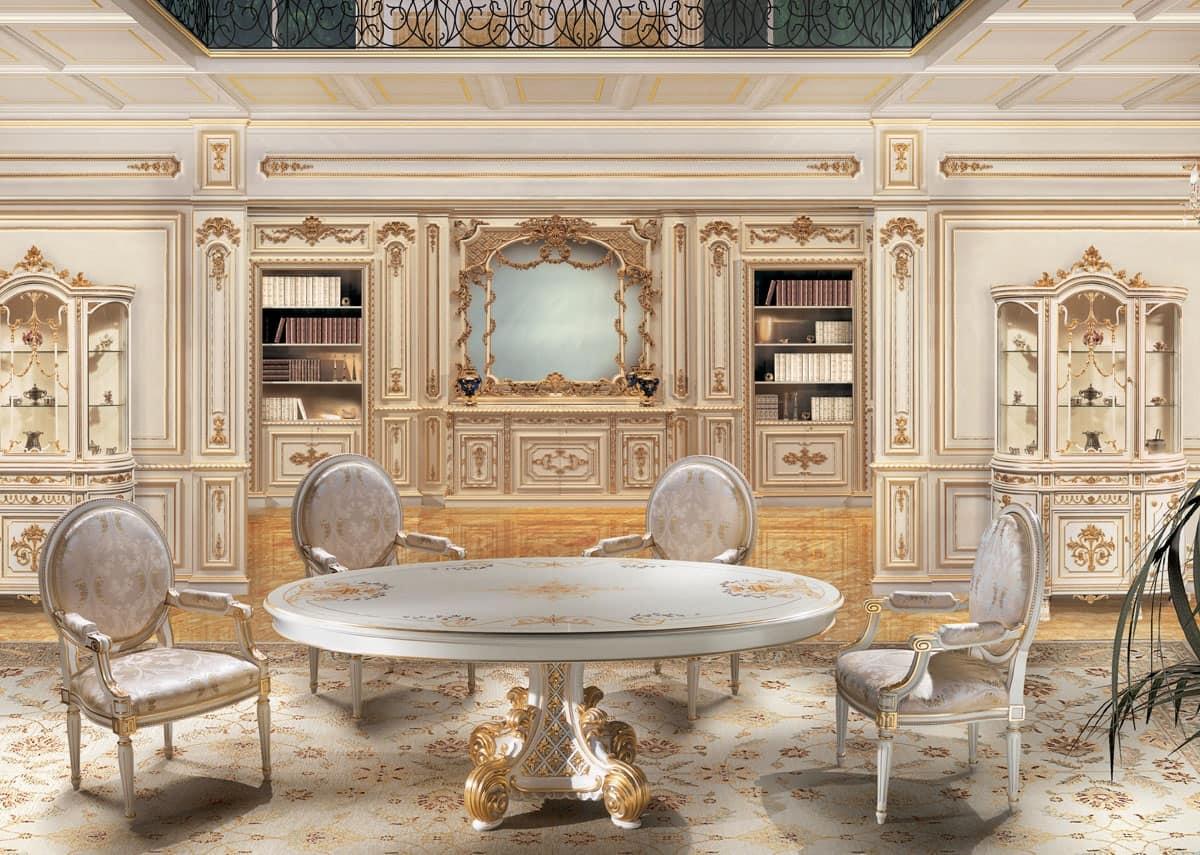 ... Boiserie laccata bianco e oro, per salotti in stile classico di lusso