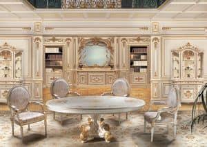 F850 Boiserie, Boiserie laccata bianco e oro, per salotti in stile classico di lusso