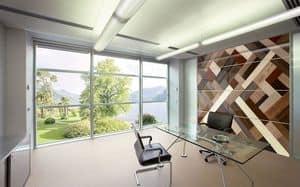 ORIONE, Boiserie modulare con pannelli realizzati a mano