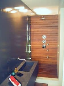 ZEN, Boiserie in legno per bagno, su misura