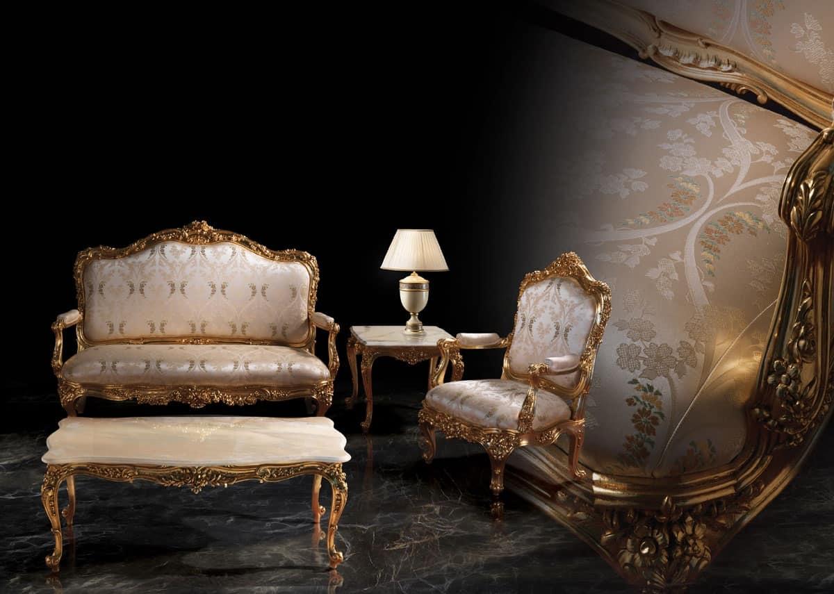 1008 Divano, Divano in stile classico, struttura in legno dorato