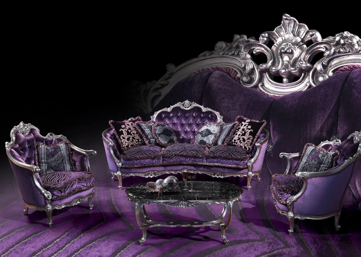 220 Divano, Divano con finiture in argento, stile Luigi XV