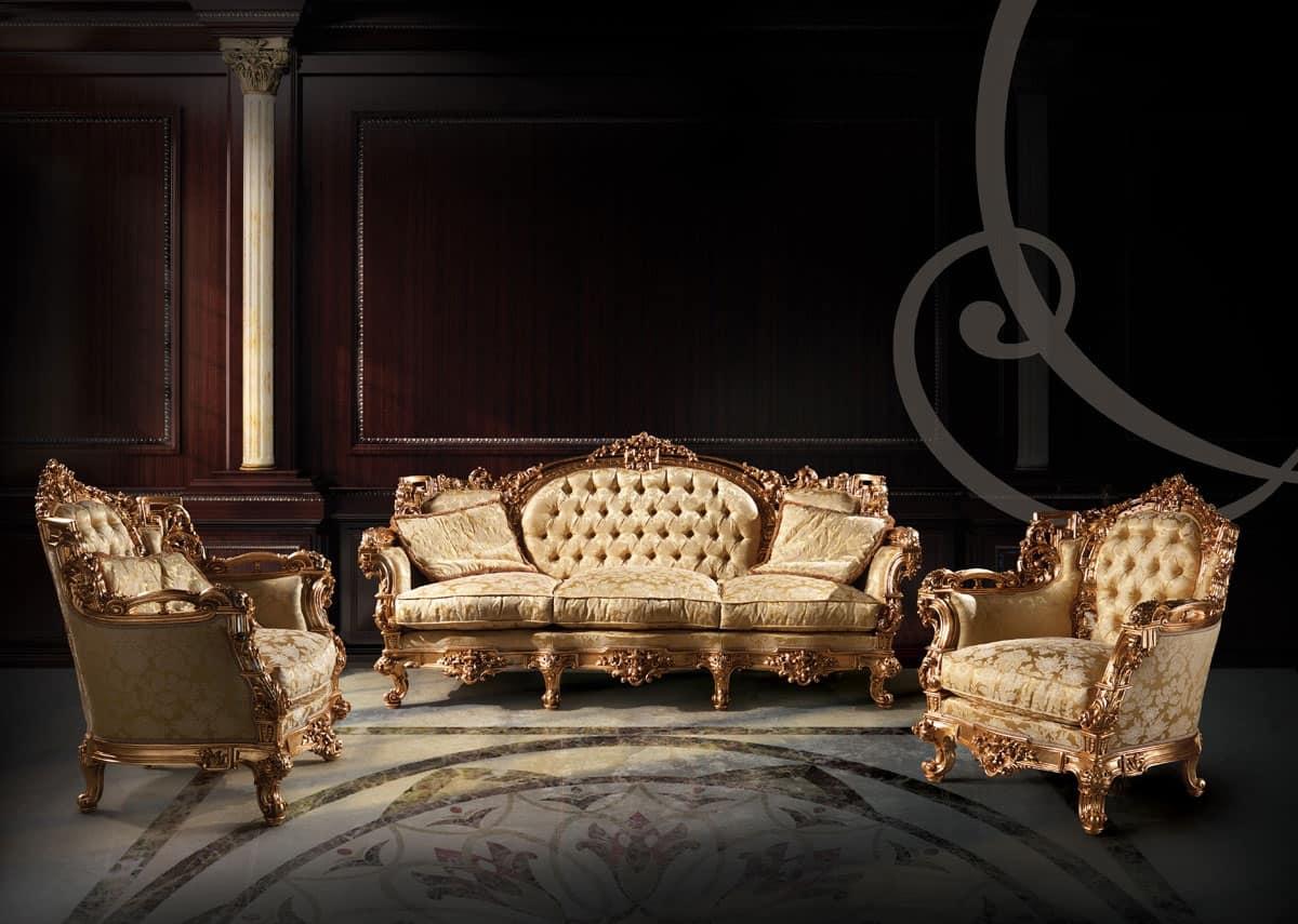 Divano imbottito capitonn con 3 posti per salotto for Divani di lusso prezzi