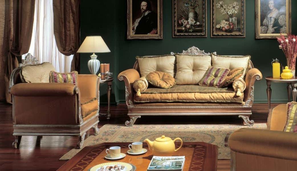 Divano a 3 posti con finitura decap in legno intagliato for Arredamento stile impero