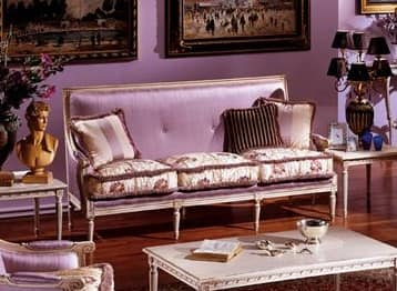 3325 DIVANO, Divano a 3 posti, in stile Luigi XVI, laccato e intagliato