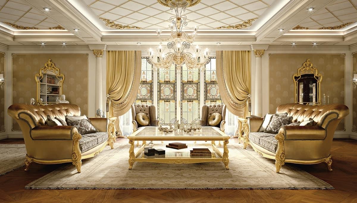 Elegante divano classico per salotto idfdesign for Salotti eleganti