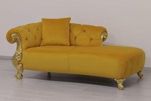 Oceano Tessuto dormeuse, Dormeuse in stile barocco, con finiture in oro e argento