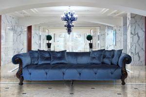 Oceano tessuto 4 posti, Divano 4 posti con finitura oro, stile classico di lusso
