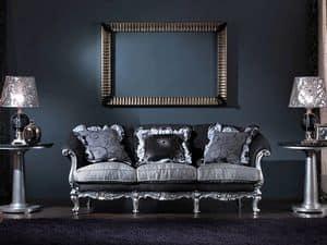 715 DIVANO, Divano 3 posti, intagliato a mano, stile classico di lusso