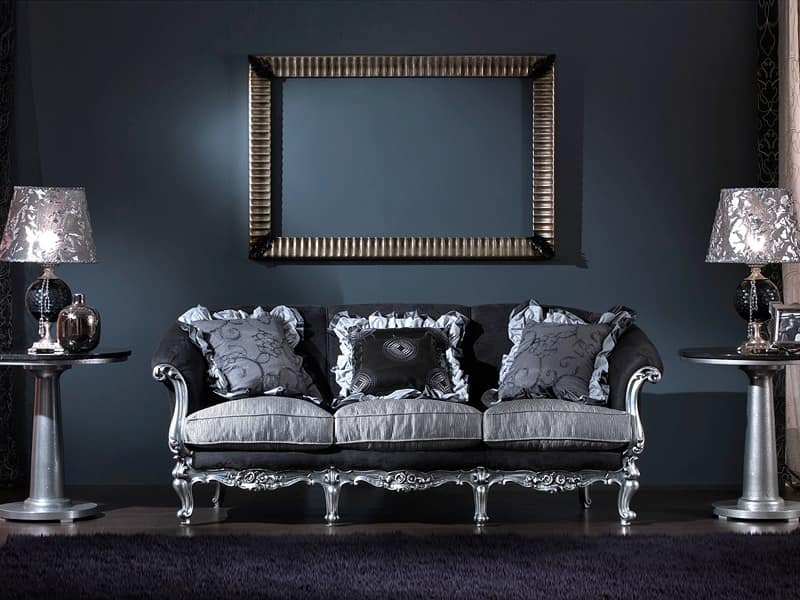 Divano 3 posti intagliato a mano stile classico di lusso for Divani classici in stile