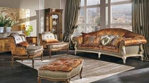 7752, Divano classico di lusso con 3 posti per salotti eleganti