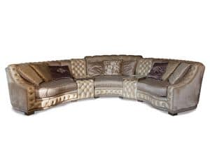 Aisha corner, Lussuoso divano angolare, decorazioni capitonn�