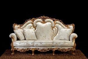 Alba divano tessuto, Divano barocco, con intagli artigianali