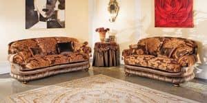 Aramis, Divano dalle linee curve, in stile classico di lusso