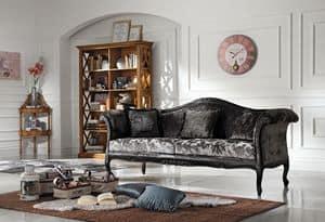 Art. 065 DIVANO, Divano imbottito, rivestito in velluto, in stile classico