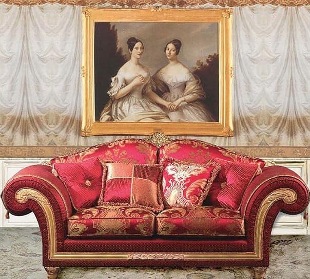 Art. IM 22 Imperial, Divano classico di lusso, in preziosi tessuti sfoderabili, per salotti