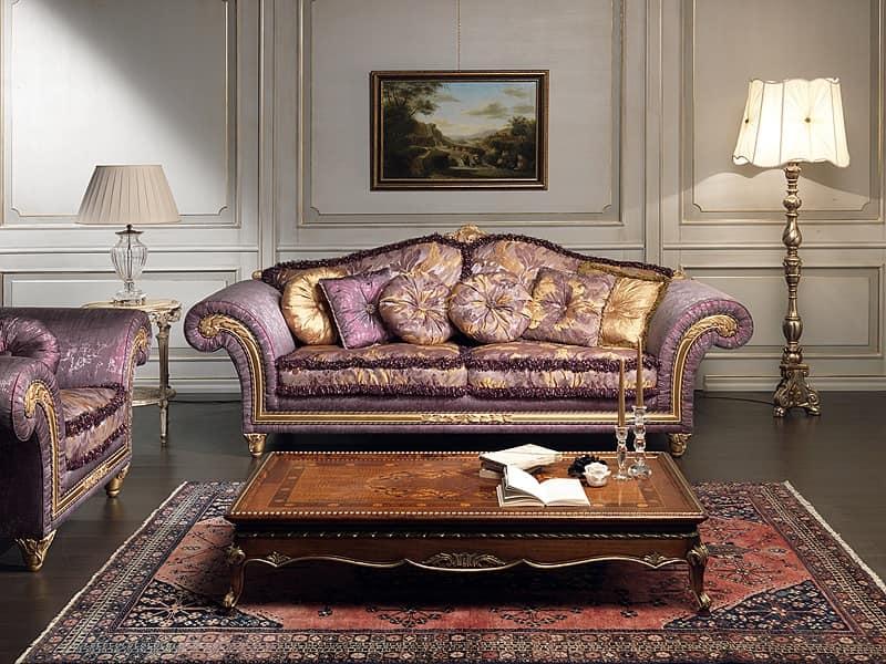 Art. IM 23 Imperial, Divano di lusso, con modanature intagliate a mano a foglie barocche e dorate