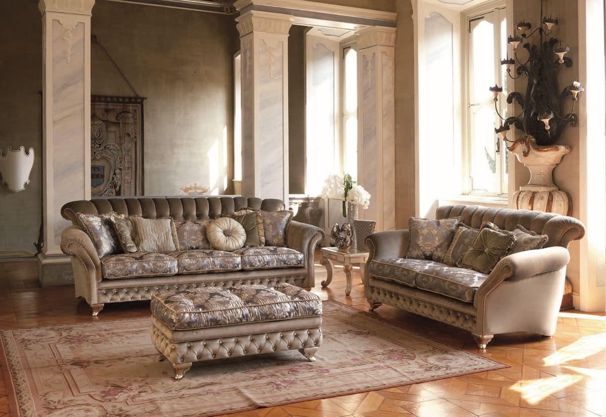 divano 3 posti per salotti classici finiture foglia