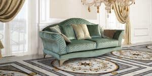 Audrey divano, Lussuoso divano, in stile classico, in pregiato tessuto verde