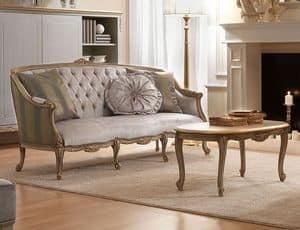 Belle Epoque 486 divano, Divano classico a tre posti, in legno intagliato a mano, per salotti