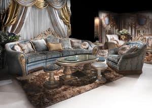 Bijoux Sittingroom, Divano decorato a mano per soggiorno classico di lusso