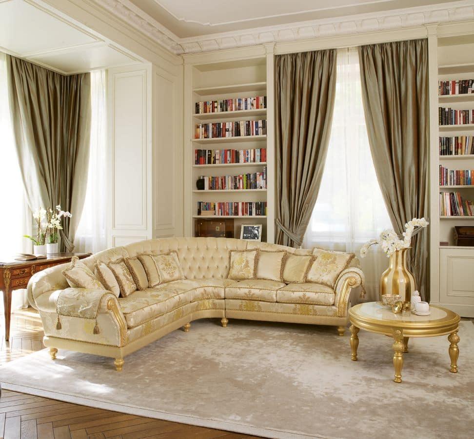 Etoile, Divano classico di lusso per Hall, intagli a mano