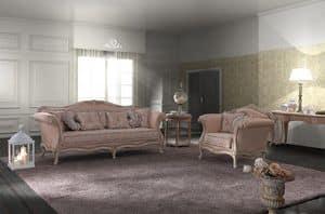 Camelia sitting room, Salotto in stile barocco, lavorato a mano, disponibile in diverse misure