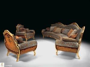Caprice, Salotto classico di lusso, divano intarsiato