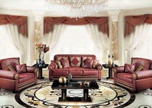 Dec�, Divano classico di lusso per Salotto, con 3 posti