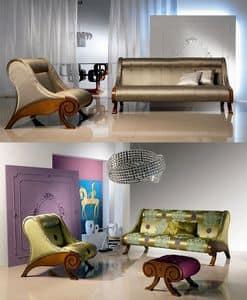 DI06 Glamour divano, Divano in legno imbottito, con rivestimento personalizzabile